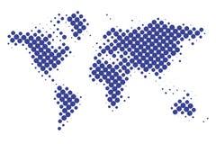 Поставленная точки карта мира, минимальный стиль значка, концепция, вектор иллюстрация штока