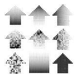 Поставленные точки стрелки grunge полутонового изображения Стоковое Изображение RF