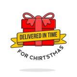 Поставленный вовремя подарочной коробки рождества красной