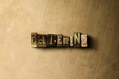 ПОСТАВЛЯТЬ ЕДУ - конец-вверх grungy года сбора винограда typeset слово на фоне металла Стоковое Фото