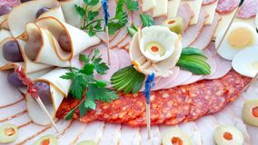 Поставляя еду еда шведского стола или партии, закуски стоковая фотография rf