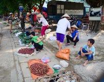 Поставщики на уличном рынке в Mai Chau, Вьетнаме Стоковое Изображение