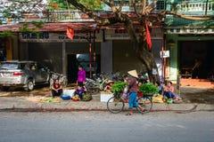 Поставщики на уличном рынке в Mai Chau, Вьетнаме Стоковые Фотографии RF