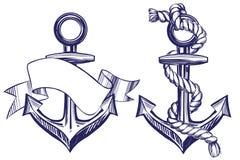 Поставьте эскиз на якорь иллюстрации вектора установленного символа знака нарисованный рукой изолированный на белой предпосылке Стоковые Фото