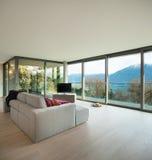 Поставленная квартира, взгляд живущей комнаты Стоковая Фотография RF
