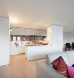 Поставленная квартира, взгляд живущей комнаты Стоковое Изображение