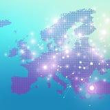 Поставленная точки карта Европы Геометрическая графическая связь предпосылки Большой комплекс данных с смесями Цифровые данные Стоковые Фотографии RF