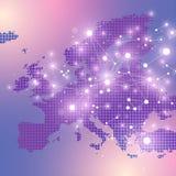 Поставленная точки карта Европы Геометрическая графическая связь предпосылки Большой комплекс данных с смесями Цифровые данные Стоковое Фото