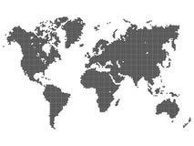 Поставленная точки карта мира вектора иллюстрация вектора