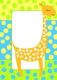 Поставленная точки карточка приглашения рамки жирафа Стоковые Фотографии RF