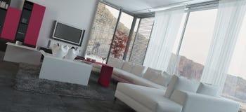Поставленный дизайн живущей комнаты с стеклянным Windows Стоковое Изображение