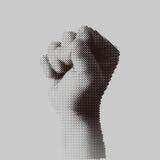 Поставленный точки сжатый кулак полутонового изображения держал максимум в протесте Стоковые Фотографии RF