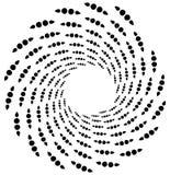 Поставленный точки спиральный элемент Концентрические завихряясь круги Геометрический ab Стоковое Изображение