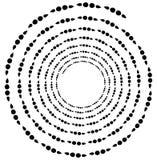 Поставленный точки спиральный элемент Концентрические завихряясь круги Геометрический ab Стоковое Изображение RF