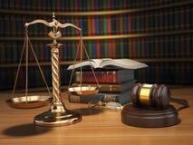 постамент правосудия принципиальной схемы 3d золотистый представляет маштаб Молоток, золотые масштабы и книги в библиотеке бесплатная иллюстрация