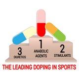 Постамент с ведущими давая допинг агентами в спорт Изолировано на белизне Стоковая Фотография