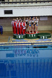 Постамент для rewarding спортсменов Стоковая Фотография