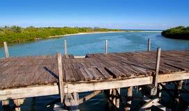 постаретая древесина tulum sian моста kaan тропическая Стоковое Изображение