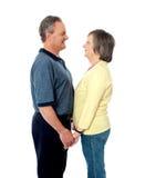 постаретая пара вручает влюбленность удерживания стоковая фотография rf
