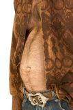 постаретая середина человека живота пива кавказская волосатая Стоковое Изображение