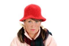 постаретая средняя задумчивая женщина Стоковая Фотография