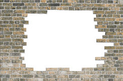 постаретая стена отверстия кирпича Стоковые Фотографии RF