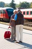 постаретые пары зреют поезд станции стоковое изображение