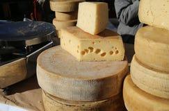 Постаретые сыры на продаже в продовольственном рынке Стоковые Фото