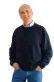 постаретый вскользь свитер середины человека джинсыов Стоковые Фотографии RF