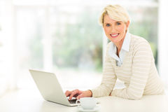 Постаретый серединой компьютер женщины Стоковая Фотография
