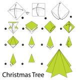 Постепенные инструкции как сделать рождественскую елку origami Стоковое Изображение RF