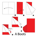 Постепенные инструкции как сделать origami ботинки Стоковая Фотография RF