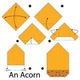 Постепенные инструкции как сделать origami жолудь Стоковая Фотография RF