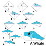 Постепенные инструкции как сделать origami кита Стоковые Изображения RF