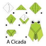 Постепенные инструкции как сделать origami цикаду Стоковое Изображение RF