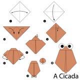 Постепенные инструкции как сделать origami цикаду Стоковое фото RF