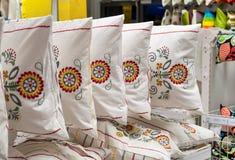 Постельные принадлежности и домашний магазин ткани Стоковые Изображения