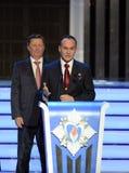 Постоянный член Совета Безопасности Российской Федерации Sergey Ivanov и космонавта Sergey Ryazanskiy испытания на cerem стоковые изображения rf