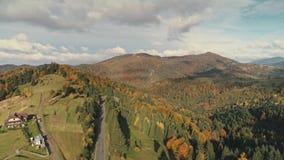 Построение на вершине холма вечнозелеными деревьями и желтыми лесами акции видеоматериалы
