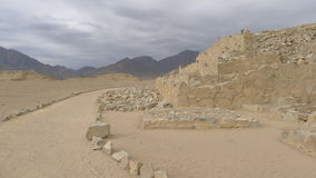Построенная конструкция цивилизации Caral 5000 лет назад стоковая фотография rf