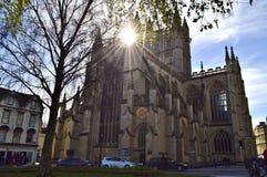 построенное здание ванны аббатства покрасило камень меда Англии исторический используя Стоковая Фотография RF