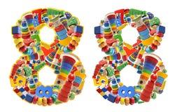 8 построенный от деревянных игрушек Стоковое Фото
