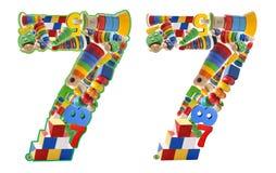 7 построенный от деревянных игрушек Стоковое Изображение RF