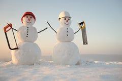 Построители снеговика Украшение рождества или xmas Стоковая Фотография