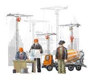 Построители на строительной площадке Промышленная иллюстрация с работниками, кранами и машиной конкретного смесителя Стоковое фото RF