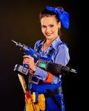Построитель женщины с инструментами конструкции Стоковое Фото