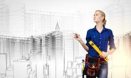 Построитель женщины стоковое изображение rf