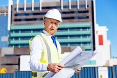 Построитель инженера на строительной площадке Стоковая Фотография