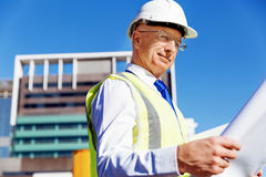 Построитель инженера на строительной площадке Стоковое фото RF