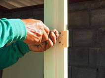 Построитель или работник сверля отверстие Стоковое Фото